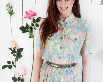 Sugar and Spice, French Vintage, 1970s Pastel Floral Midi Dress from Paris