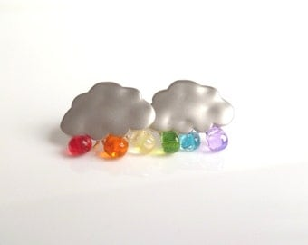 Rainbow cloud earrings - assorted colorful glass rain droplets and white gold with .925 sterling silver posts - ROYGBIV The Silver Lining