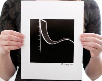 Acoustic Guitar I Photograph (6 x 6 inch Fine Art Print) Black & White Music Photography