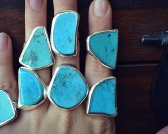 Lux Divine /// Turquoise Electroformed Gemstone Rings /// Silver