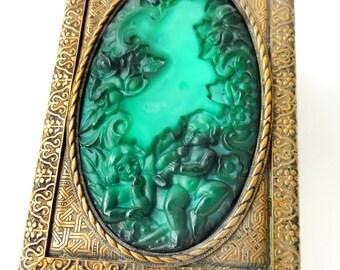 Vintage Art Malachite Jade Glass and  Brass Box Curt Schlevogt Bohemia Czechoslovakia Cherubs