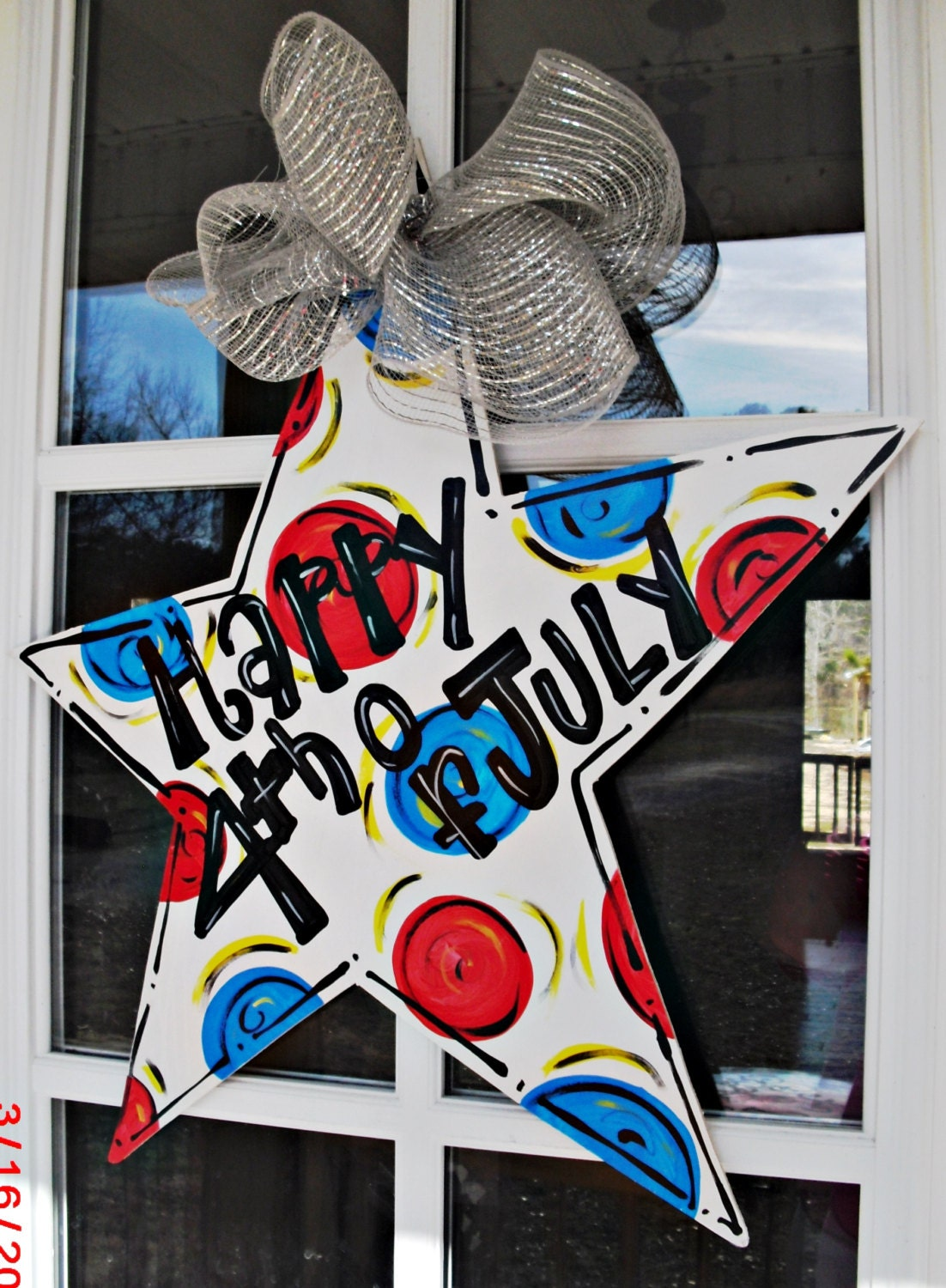 Happy 4th Of July Star Patriotic Wood Cut Out Door Hanger
