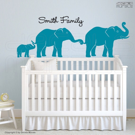 Wall decals  PERSONALIZED ELEPHANT FAMILY Vinyl art surface graphics interior decor by Decals Murals