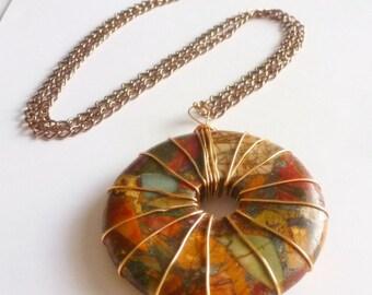 Stone Donut Necklace, Picasso Jasper Pendant, Multicolor Autumn Shades, Round Stone, Unusual Jewelry