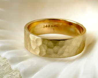 Hammered Ring, Gold Wedding Band, Textured Ring, Recycled Gold, Florentine, Stackable Band, Stacking Ring, Solid Gold Ring, 6mm Wedding Band