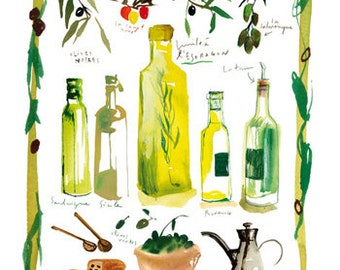 Olive oil poster, Italy wall art, Kitchen decor, Italian kitchen, Italian food, Home decor, Yellow kitchen print, Watercolor food painting
