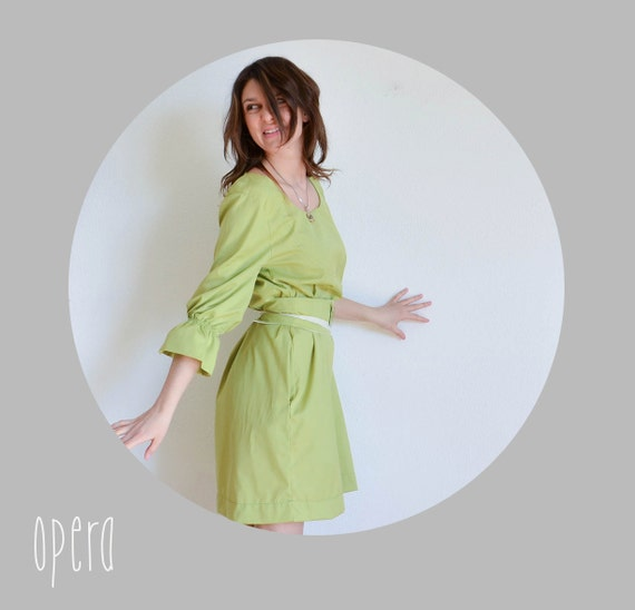 SALE - Green womens a line cotton dress with butterfly obi belt