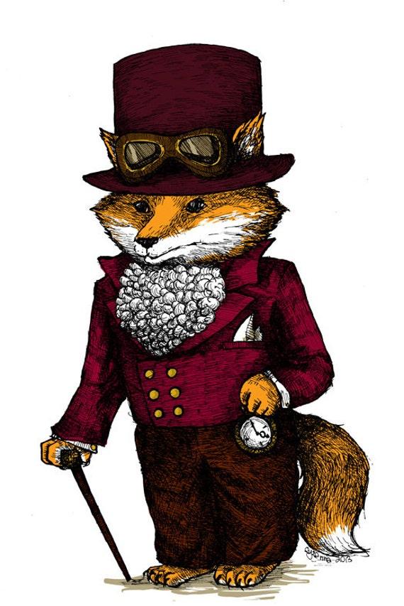 Steampunk Fox Art Print Top Hat Nursery Print Brown Orange