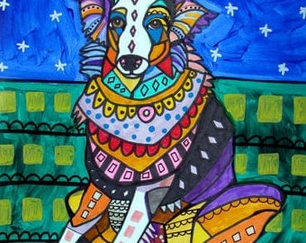 50% Off Code ACORN50 - Australian Shepherd Art - art dog  Art Print Poster by Heather Galler (HG147)