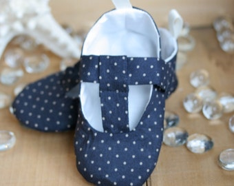 Baby Girl Shoes Navy and Taupe Polka Dot T-Strap Mary Janes - Soft Sole Baby Booties