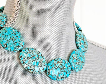 TURQUOISE Necklace stone blue silver christmas western metal boho teal birthday for her big large beaded beadwork stone oval strand