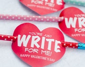 Valentine PRINTABLE 'You're Just Write for Me' Valentine Tag (INSTANT DOWNLOAD) by Love The Day