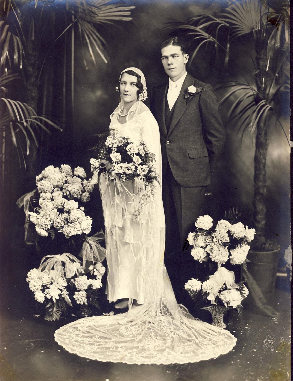 Beautiful Edwardian Wedding Dress On Young Woman Photo Circa