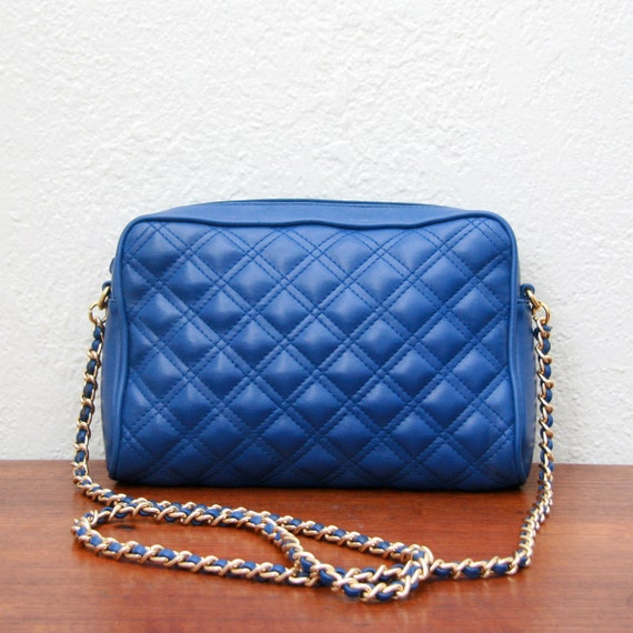 Vintage 80s Blue Faux Leather Quilted Bag With Chain Strap