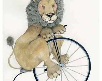 Lion Print Giclee print Lion on a Penny Farthing 8x11