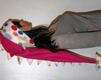 Long Fleece Hat Pink Colorful Polka Dots Dragon Dinosaur Tail Fleece Winter Ski