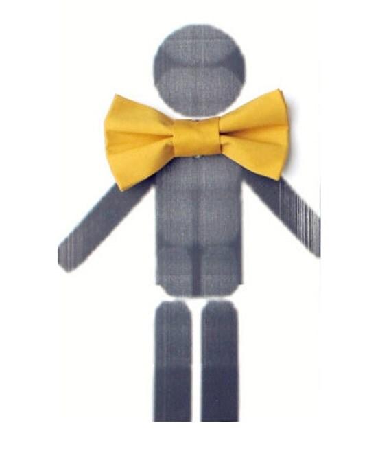 Mustard Bow Tie - Clip On Men BowTie Yellow Mustard