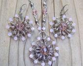 Light Pink Jewelry Set - Swarovski Crystal Jewelry Set - Pink Wire Crochet Jewelry Set - Rose Pink Bridesmaid Gift - Rustic Wedding Jewelry