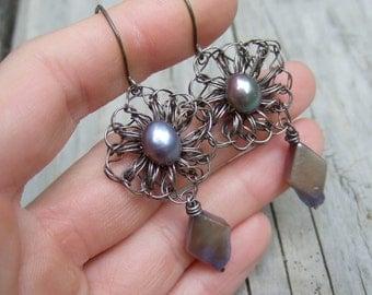 Purple Pearl Earrings - Sterling Silver Wire Crochet Earrings - Blue Violet Freshwater Pearl - Romantic Earrings - Rustic Jewelry