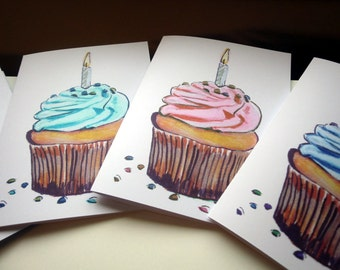 Cupcake and Candle Birthday Cards Set, Watercolor Art Birthday Greeting Cards, Set of 8