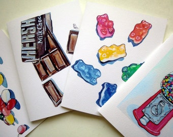 Kids Stationery, Candy Notecards, Blank Watercolor Art Note Cards, Set of 4 - Jelly Beans. Gummi Bears, Chocolate