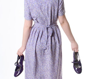 Purple Floral Dress - Pleated Lilac summer Midi dress