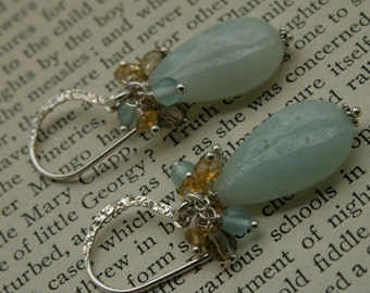 Amazonite, Citrine, Smokey and Blue Quartz Cluster Earrings in Sterling Silver
