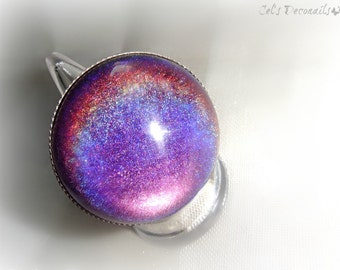 Purple holographic ring, chunky ring, gothic jewelry, gift for her