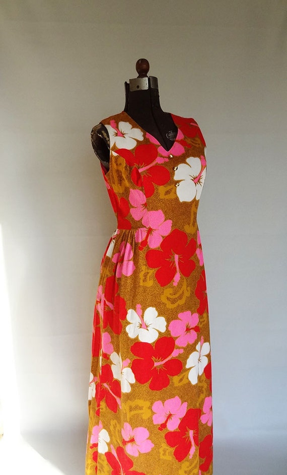 Vintage hawaiian print maxi dress vintage size 16 modern size large