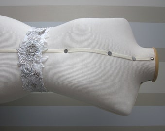 White/Silver Bridal Sash