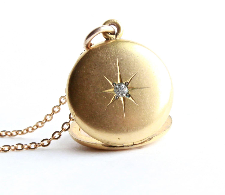 Vintage Rhinestone Star Locket Necklace Gold Filled Round