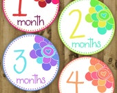 Flowers - Monthly Baby Printable Stickers / Labels - Digital PDF