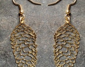 Pine Cone Earrings Gold Plated