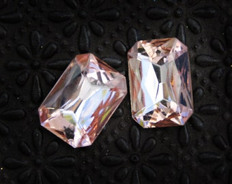18x13mm Light Rose Rosaline Octagon Glass Stones Jewels Gems, foiled back doublet, Quantity 2