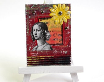 ACEO Mixed Media Art Card Original Mixed Media Collage Artist Card Medieval Woman Red Orange