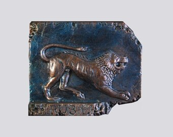 Etruscan Lion Stone Sculpture Gift for Him, Italian Home Decor Italy Antiquities, Ancient Sculpture Lion Wall Plaque