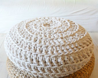 RESERVED for Kelsey McEldowney - 2x Big Floor Cushion Crochet - Thick Cotton Ecru and Hemp rope