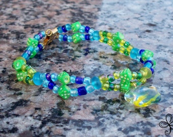 Double Chain Bracelet in Blue and Green with Star Charm