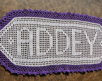 Doily - Custom Made with Your Name -Perfect for weddings, Christmas gifts - Custom Made - The center is gray and the trim is pruple