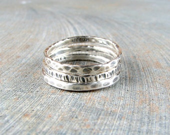 Oxidized silver stack rings hammered bands wedding band fine silver eco friendly