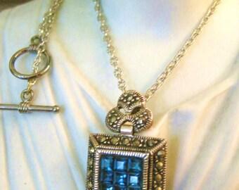 Vintage Art Deco 925 Silver Pendant Cornflower Blue Princess Cut Stones Real Marcasites Silverplate Chain
