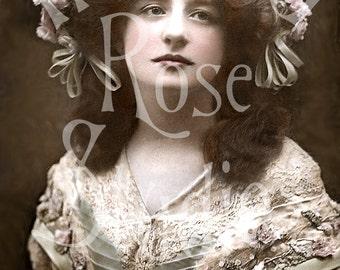 Julia-Victorian Woman-Vintage Postcard-Digital Image Download