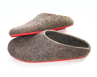 Felted wool slippers clogs - Felt Organic Natural Brown - Women house shoes - 7 Color variations Rubber soles - Valentines day gift