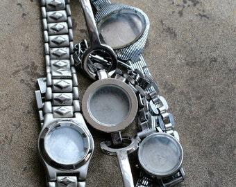 Wrist watch bracelets with empty cases -- set of 4 -- D11