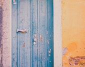 Door Photo, Portugal Photos, Travel Photography, Lisbon Print, Wall Decor, European Photography - Turquoise & Yellow