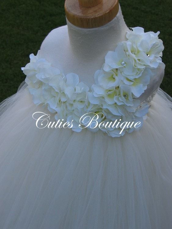 Ivory Hydrangea Flower Dress Wedding Dress Birthday Picture Prop 3, 6, 9, 12, 18, 24 Month, 2T, 3T,4T 5T 6T Ivory Flower Girl Tutu Dress