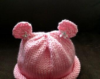 Baby Teddy Bear Beanie with bows