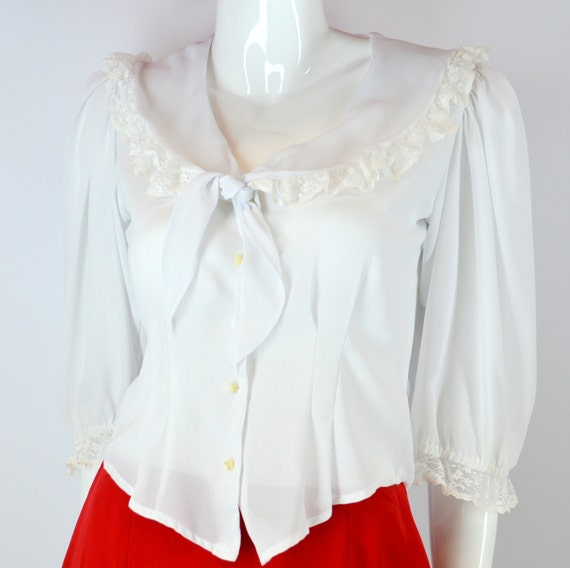 White Fitted Peasant Blouse 14