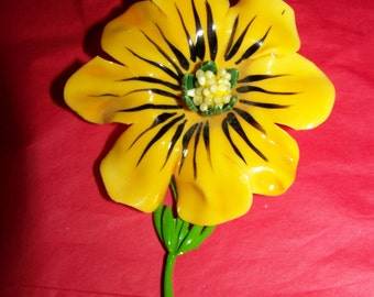 Big Yellow Melted Plastic Hand Painted Flower Brooch