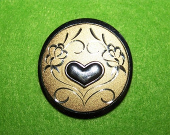 Gorham Sterling Silver Heart Etched Rose Brooch